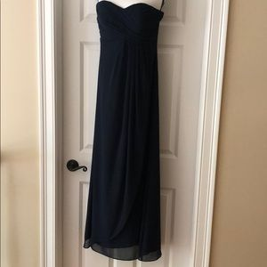 Bill Levkoff Navy Long Chiffon Bridesmaid Dress